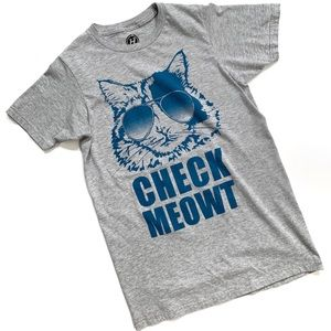 Check Meowt Gray Cat Graphic Tee Size Small